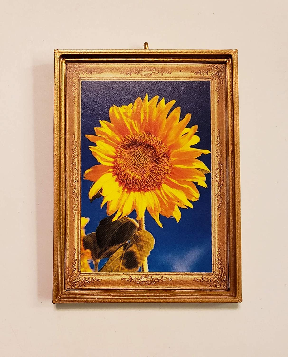 Dollhouse Miniature Without a Bail. Brilliant Sunflower Photograph Blue Sky