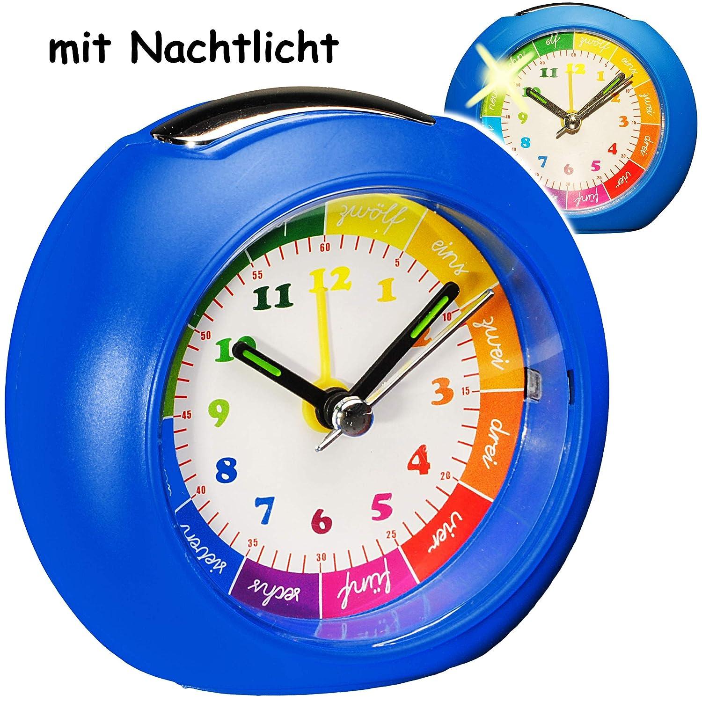 blau alles-meine.de GmbH LED Licht f/ür Kinde.. Kinderwecker // Lernuhr inkl + -1 Minuten Schritten Anzeiger Lernwecker Name Analog Lichtwecker Lernzifferblatt