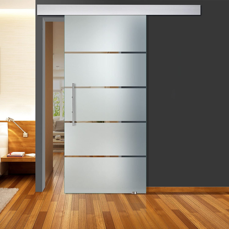 Correderas de cristal de la puerta de vidrio transparente de 5 Querstreifen Matt QSS051 - ALU60 - GS 1025 x 2050 mm DIN derecha de vidrio de seguridad de 8 mm con