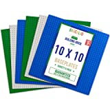 Barcaloo Building Bricks - 10 Inch x 10 Inch Stackable Baseplates - Variety 6 Pack Compatible with all Major Brands