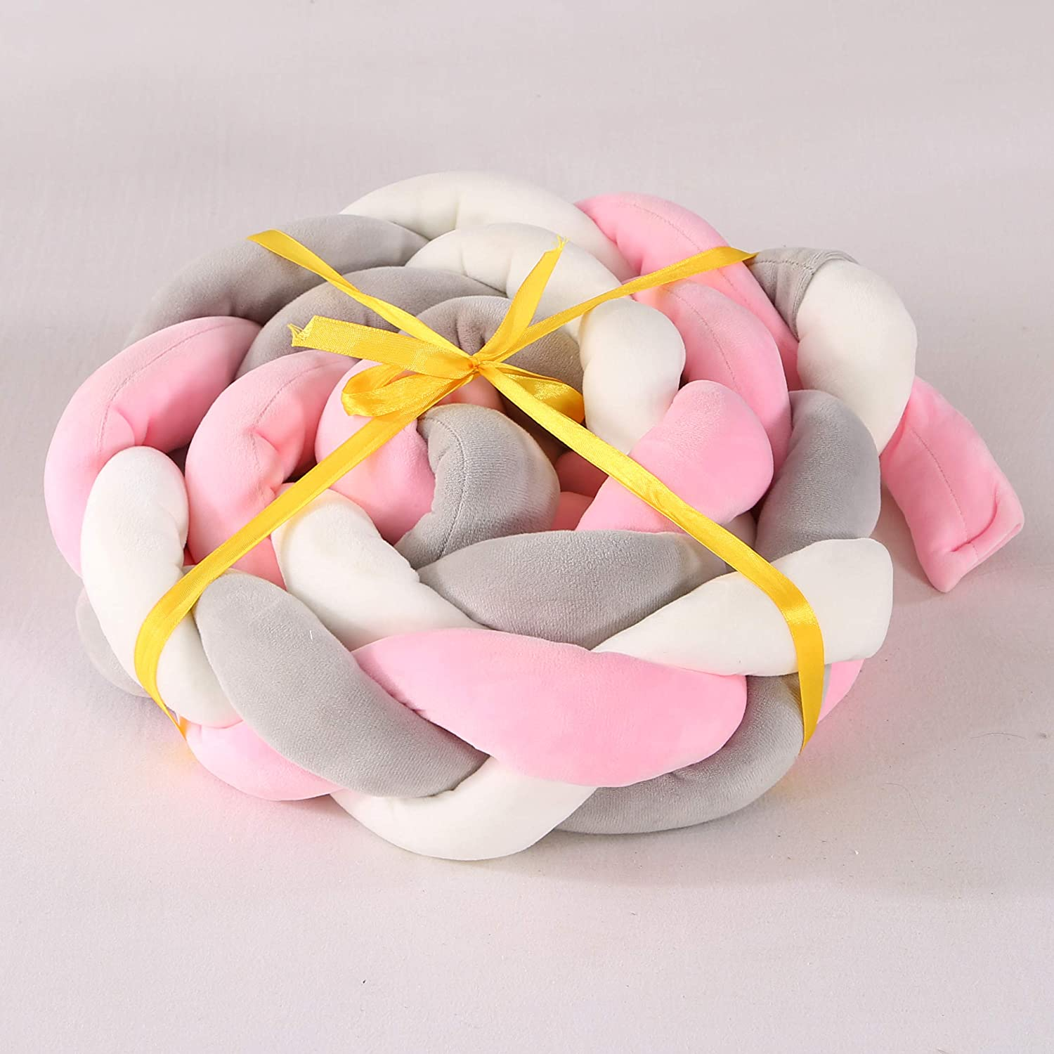 3M Baby Bed Crib Bumpers Knotted Braided Plush Nursery Cradle Decor Cot Bumpers Soft Breathable Crib Side Protector Sleep Pillow Cushion for Newborn 3 Meters, Grey-White-Pink