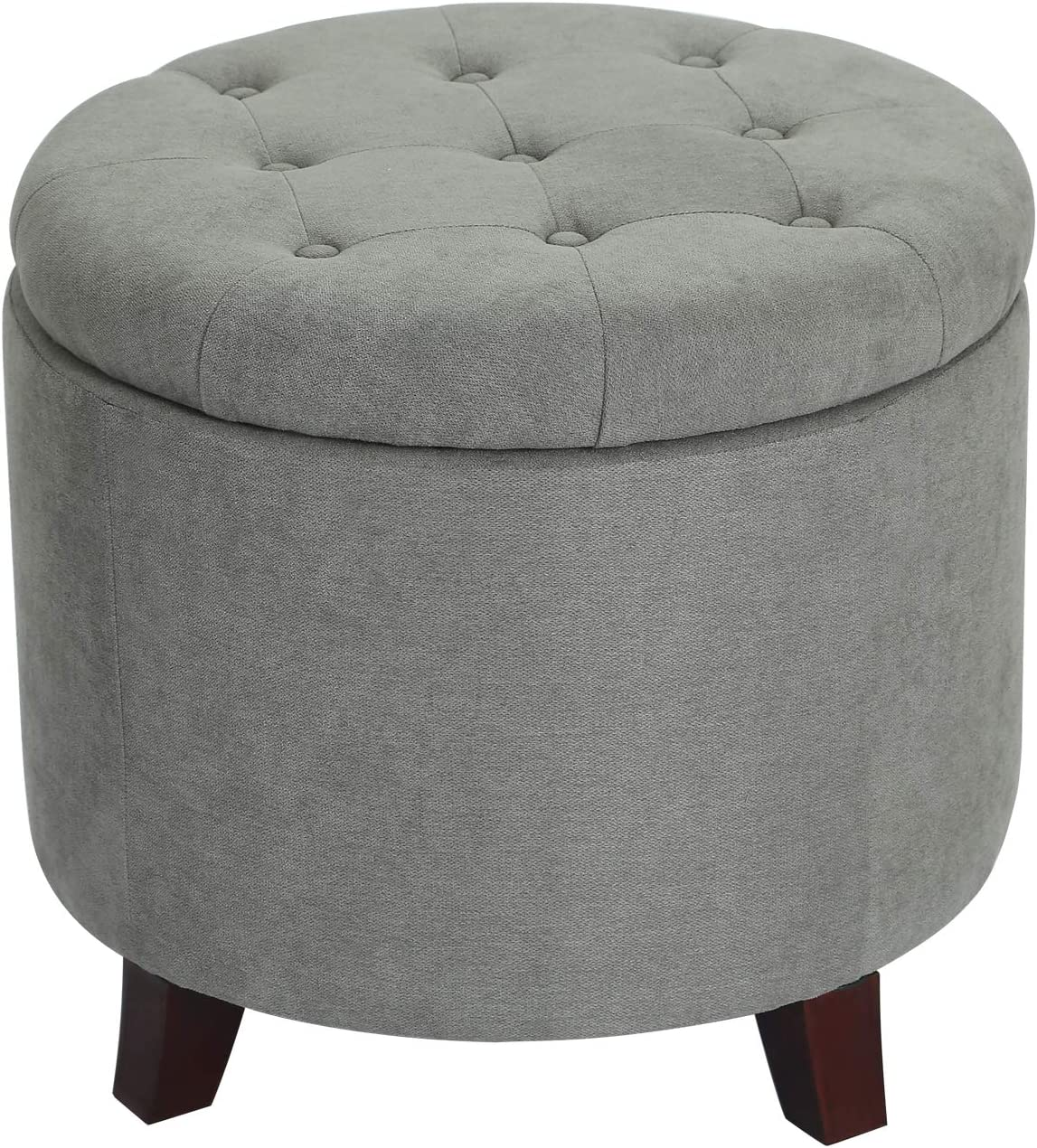 Edeco Round Storage Ottoman Tufted Fabric Footrest With Removable Lid Grey Kitchen Dining
