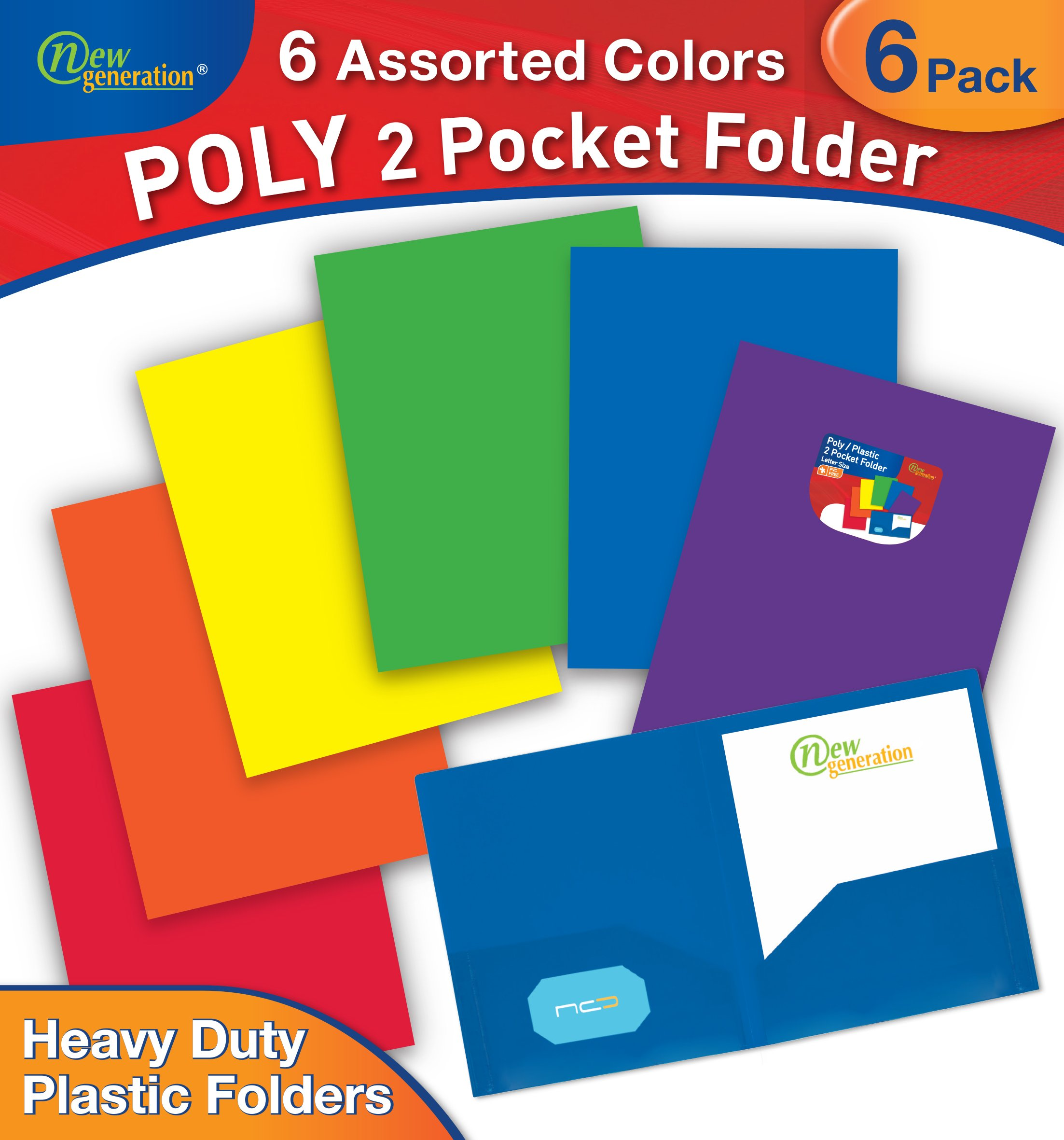 New Generation - ASSORTED FASHION COLORS - 6 PACK 2 Pocket Poly/Plastic Folder, Heavy Duty Folders For Letter Size Papers, Includes Business Card Slot (6 PACK ASSORTED COLORES)