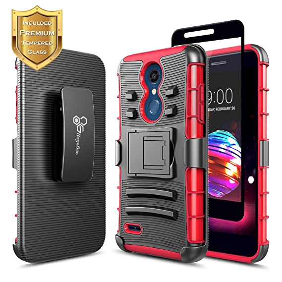 timeless design f4a63 29b86 LG Premier Pro Case w/ [Full Cover Tempered Glass Screen Protector],NageBee  [Heavy Duty] Armor Shock Proof [Belt Clip Holster Kickstand] Combo Case ...