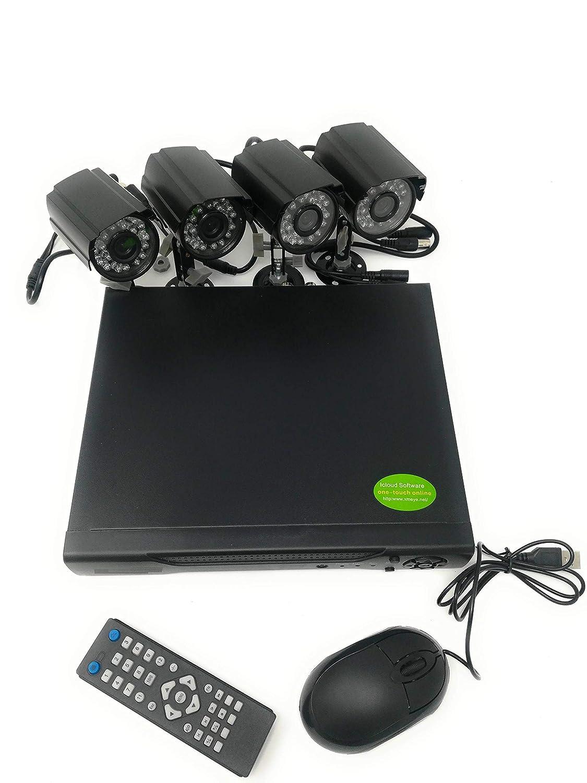 Kit de vidé o-surveillance h264 CCTV, 4 canaux té lé camé ras, infrarouges + DVR + adaptateur 4 canaux télécaméras