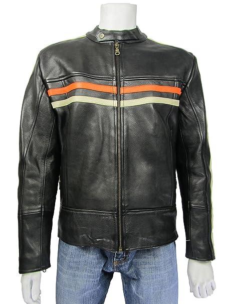 Osx Chaqueta Puro Cuero Aviador Motocicleta Rock Piel Negro ...