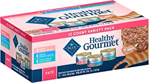 Blue Buffalo Healthy Gourmet Variety Pack Indoor Salmon, Chicken and Ocean Fish & Tuna Pate Wet Cat Food, 3 oz., Count of 12