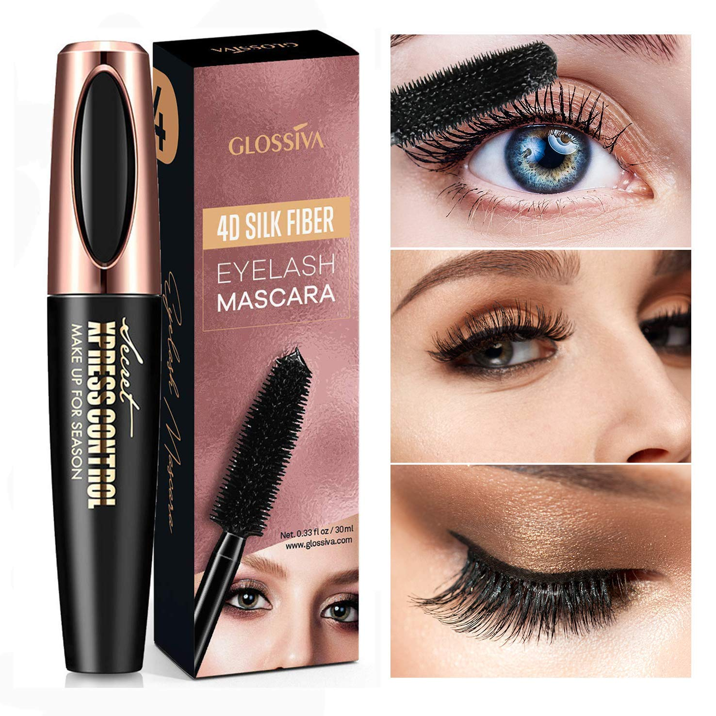 Natural 4D Silk Fiber Lash Mascara, Lengthening and Thick, Long Lasting, Waterproof & Smudge-Proof, All Day Exquisitely Lush, Full, Long, Thick, Smudge-Proof Eyelashes