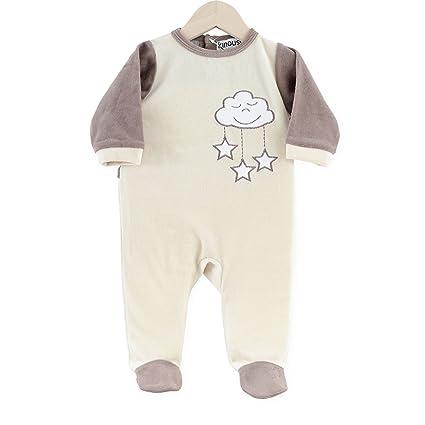 Kinousses Pijama de terciopelo para bebé, diseño de nube, color marrón marrón chocolate Talla