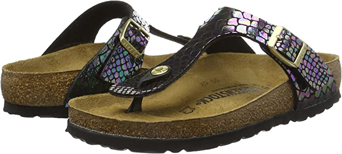 Gizeh Birko Flor, Tongs Femme, Shiny Snake Black Multi, 40 EU