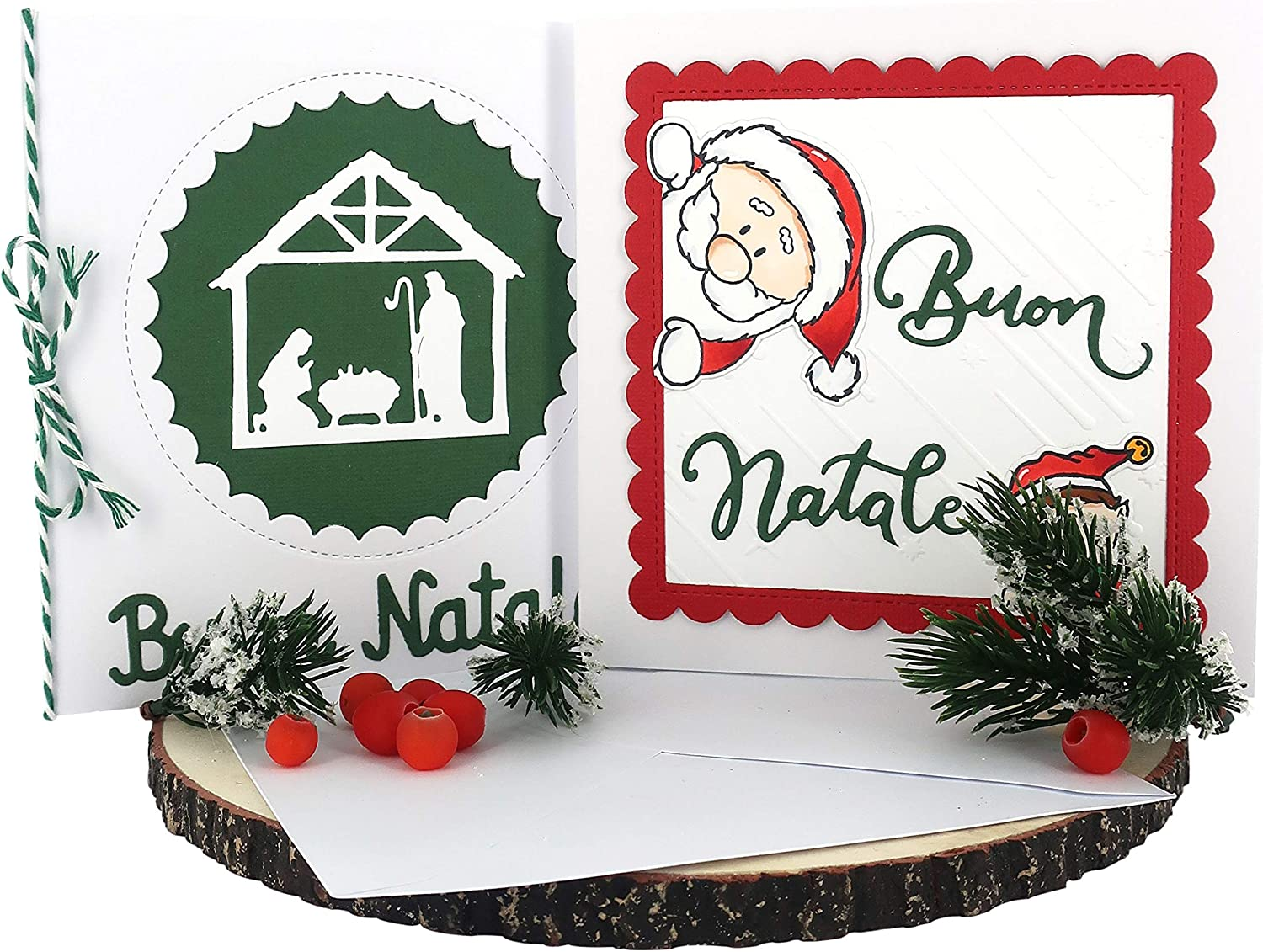 Buon Natale Ferrari.Amazon Com Ferrari Arrighetti Handmade Christmas Greeting Cards Made Of Card Stock With Envelope Buon Natale 2 Cards Furniture Decor