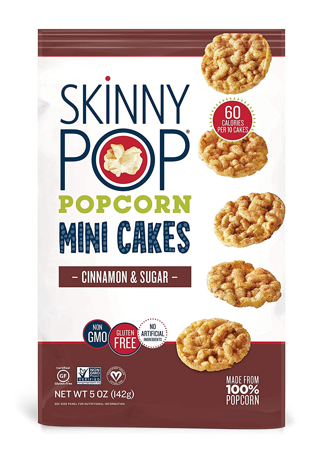 SkinnyPop Mini Popcorn Cakes, Cinnamon and Sugar, 5 Ounce