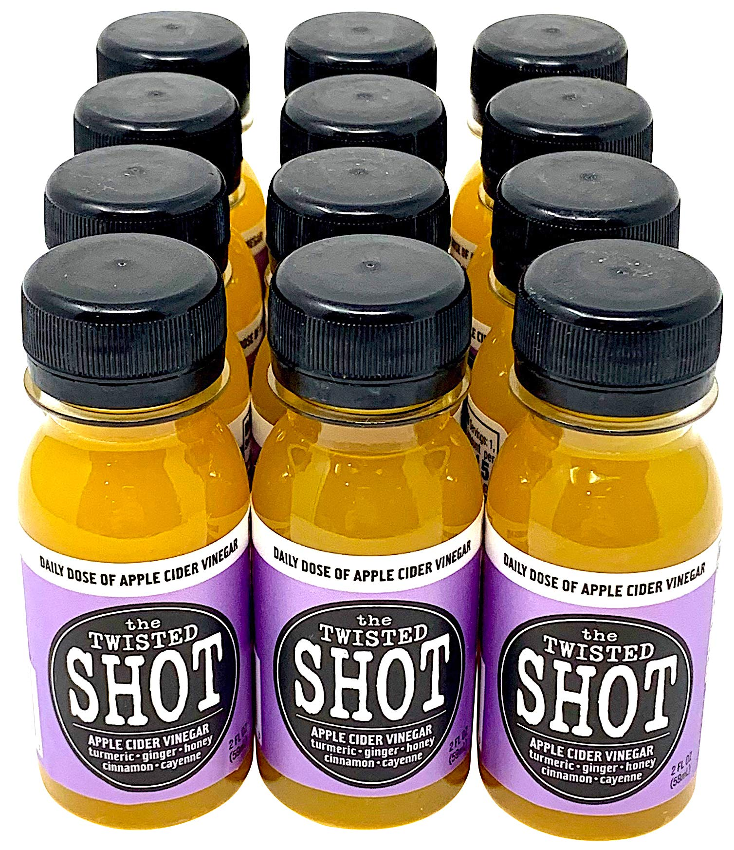 The Twisted Shot - Organic Apple Cider Vinegar shot with Turmeric, Ginger, Cinnamon, Honey & Cayenne - 12-pack of 2oz shots