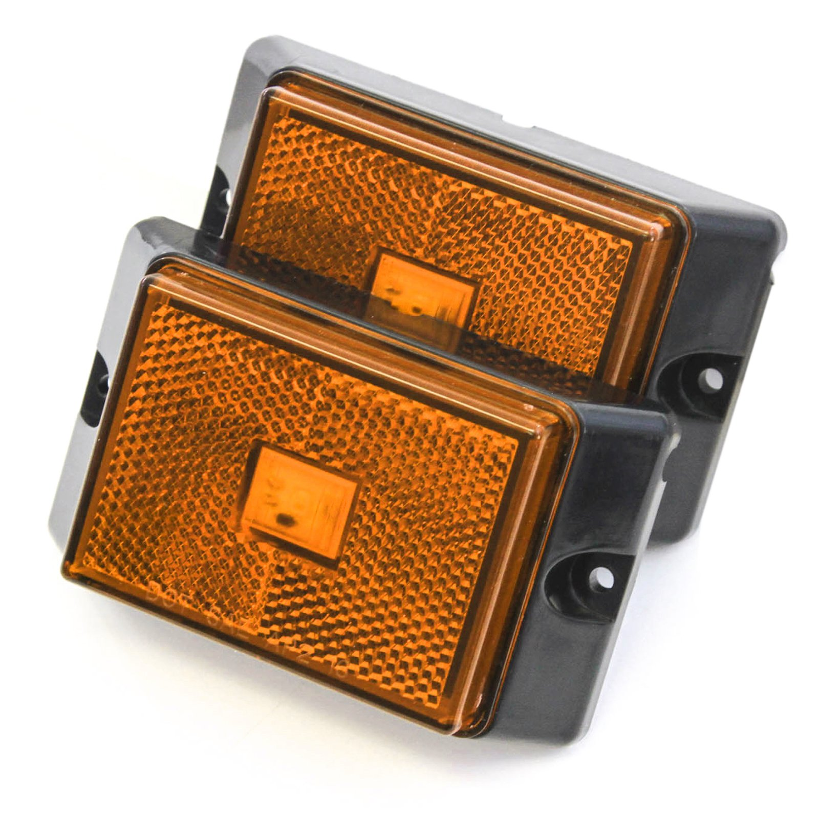 Red Hound Auto 2 Amber LED Side Marker Lights 4'' Clearance Truck Trailer Pickup Boat Bright
