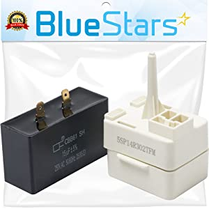 Ultra Durable W10613606 Refrigerator Compressor Start Relay and Capacitor by Blue Stars - Exact Fit for Whirlpool KitchenAid Kenmore fridges - Replaces W10416065, PS8746522, 67003186