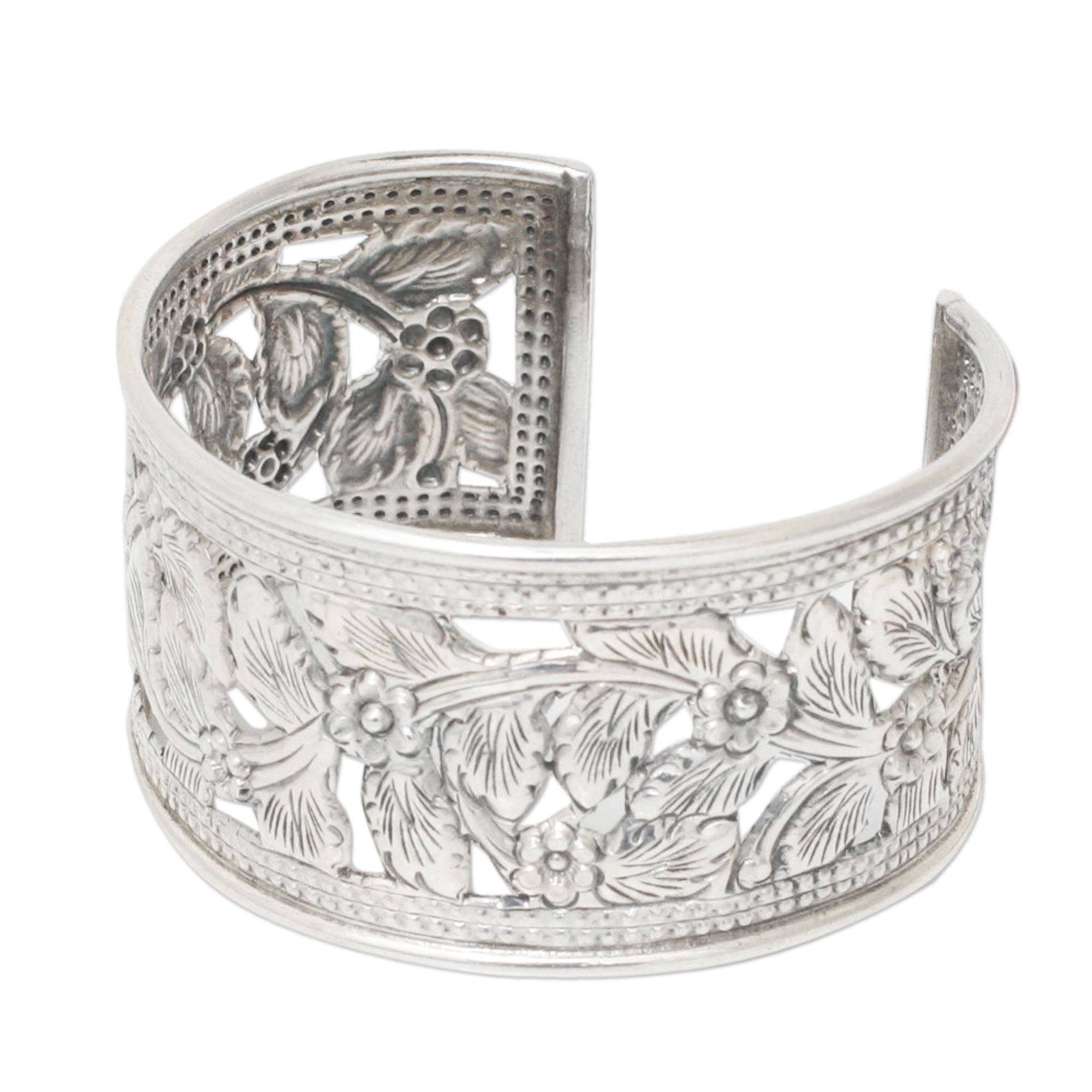 NOVICA .925 Sterling Silver Cuff Bracelet 'Jungle Flower'