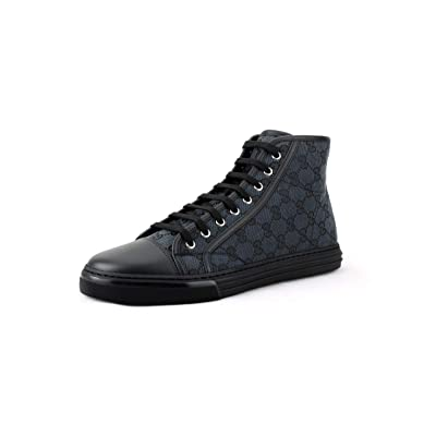 Gucci Men's Original GG Canvas High-top Sneakers, Piombo/Nero (Grey/Black): Shoes