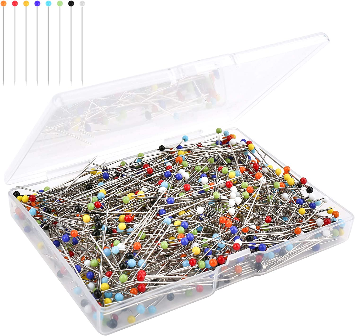 500pcs Sewing Pins, Straight Quilting Pins, Glass Head Pins, Premium Quality Stainless Steel Hijab Pin with Transparent Box for Fabric Dressmaker Jewelry Decoration, (8 Colors 1.5 Inch) Ylyl