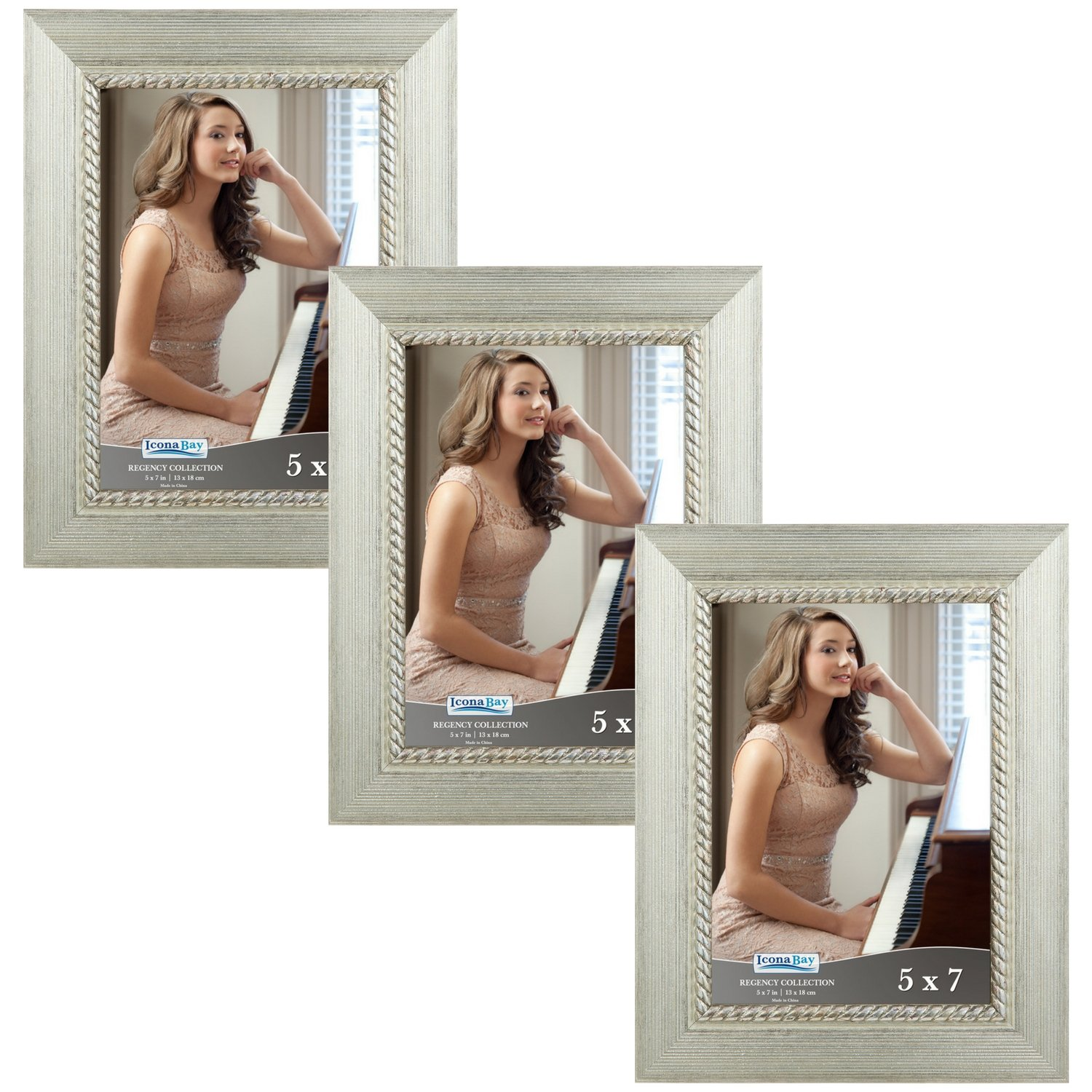 Icona Bay 5x7 Picture Frame (3 Pack, Silver), Silver Photo Frame 5 x 7, Wall Mount or Table Top, Set of 3 Regency Collection by Icona Bay
