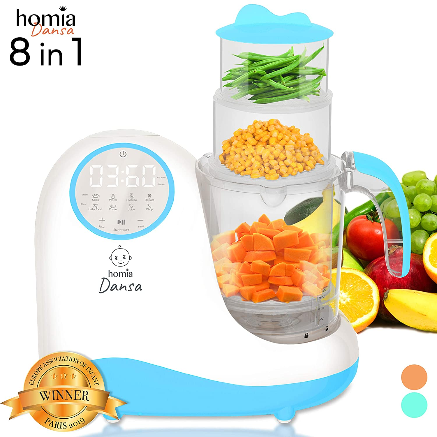 Baby Food Maker Chopper Grinder - Mills and Steamer 8 in 1 Processor for Toddlers - Steam, Blend, Chop, Disinfect, Clean, 20 Oz Tritan Stirring Cup, Touch Control Panel, Auto Shut-Off, 110V Only, Blue