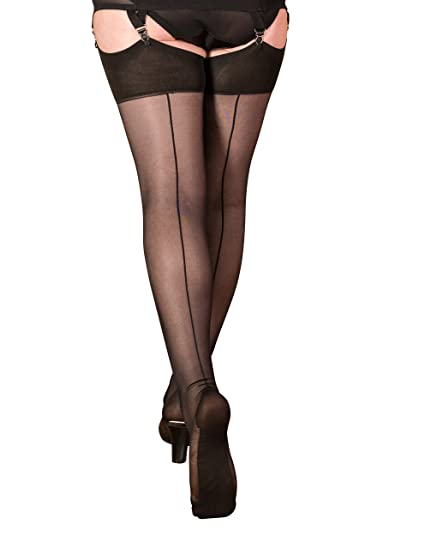 fe228025b6de1 What Katie Did Seamed Stockings 40 Denier Black (Small/Med 5ft 1 To 5ft 7  (110-145lbs), Black): Amazon.co.uk: Clothing