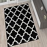 Tapis De Salon Moderne Collection Marocaine – Couleur Noir Motif Géométrique Treillis – Meilleure Qualité – Différentes Dimensions S-XXXL 140 x 190 cm