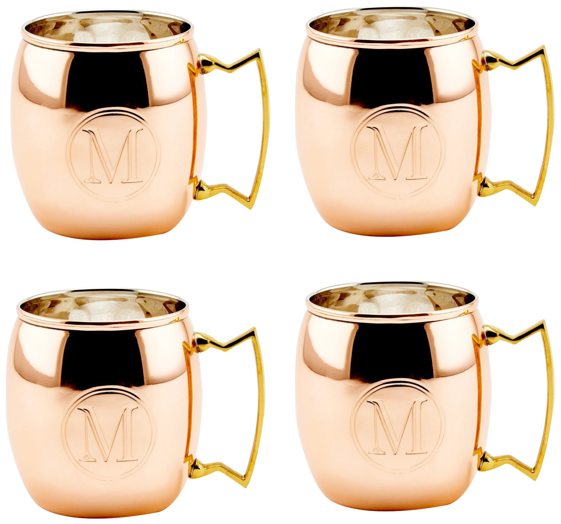Old Dutch International OS428MM Solid Moscow Mule Mug, 16-Ounce, Monogrammed M, Copper, Set of 4