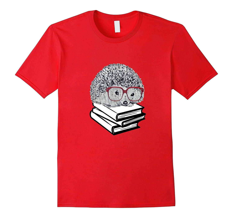 Book Nerd Hedgehog with Glasses Cute Geek T Shirt-CD