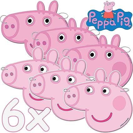 6 máscaras de Peppa Pig como Disfraz y obsequio para cumpleaños ...