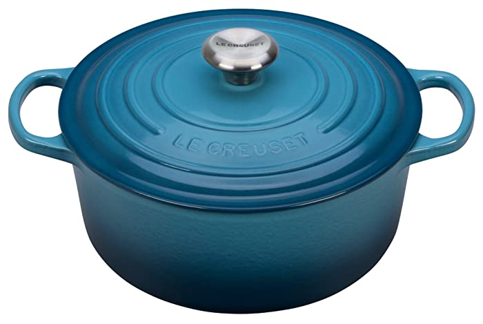 Le Creuset Signature Enameled Cast-Iron 5-1/2-Quart Round French (Dutch) Oven, Marine