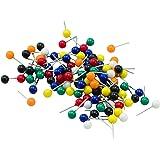 ADVANTUS Medium Head Map Tacks, 3/8-Inch Shank, 3/16-Inch Head, Box of 100, Assorted Colors (MTA)