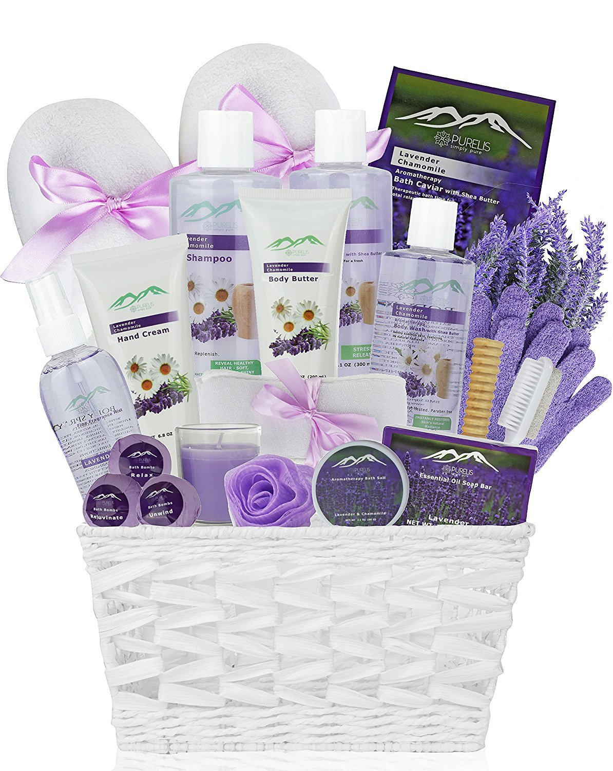 Chamomile & Lavender Spa Gift Baskets - #1 Natural Spa Kit for Women & Men! Beauty Basket Home Spa Basket 20 pc Set Includes Body Lotion, Bath Bombs & More! Spa Gifts for Her.