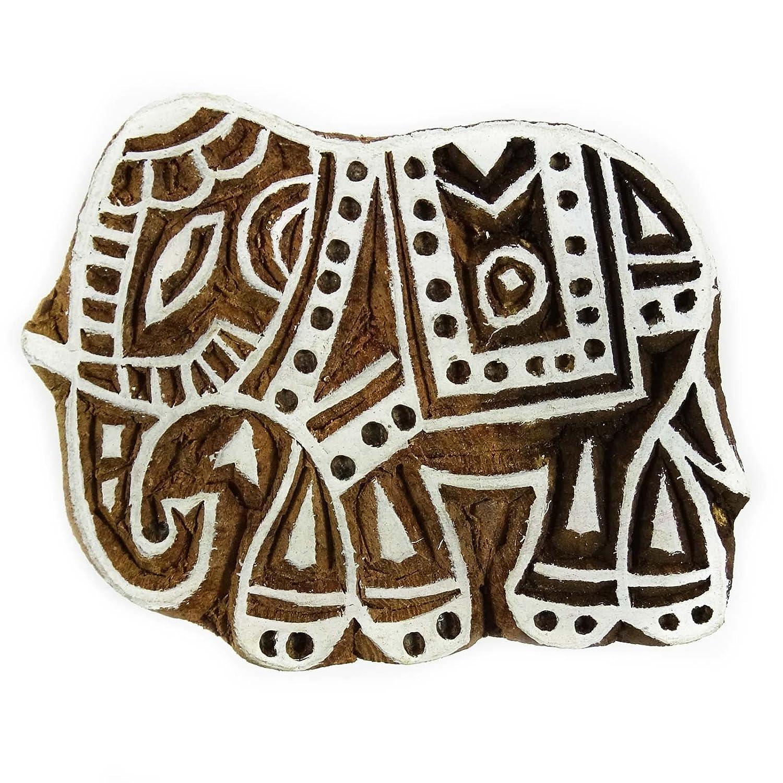 Handmade Wooden Stamp Blocco da stampa decorativa Elephant design tessile tessuto Indianbeautifulart