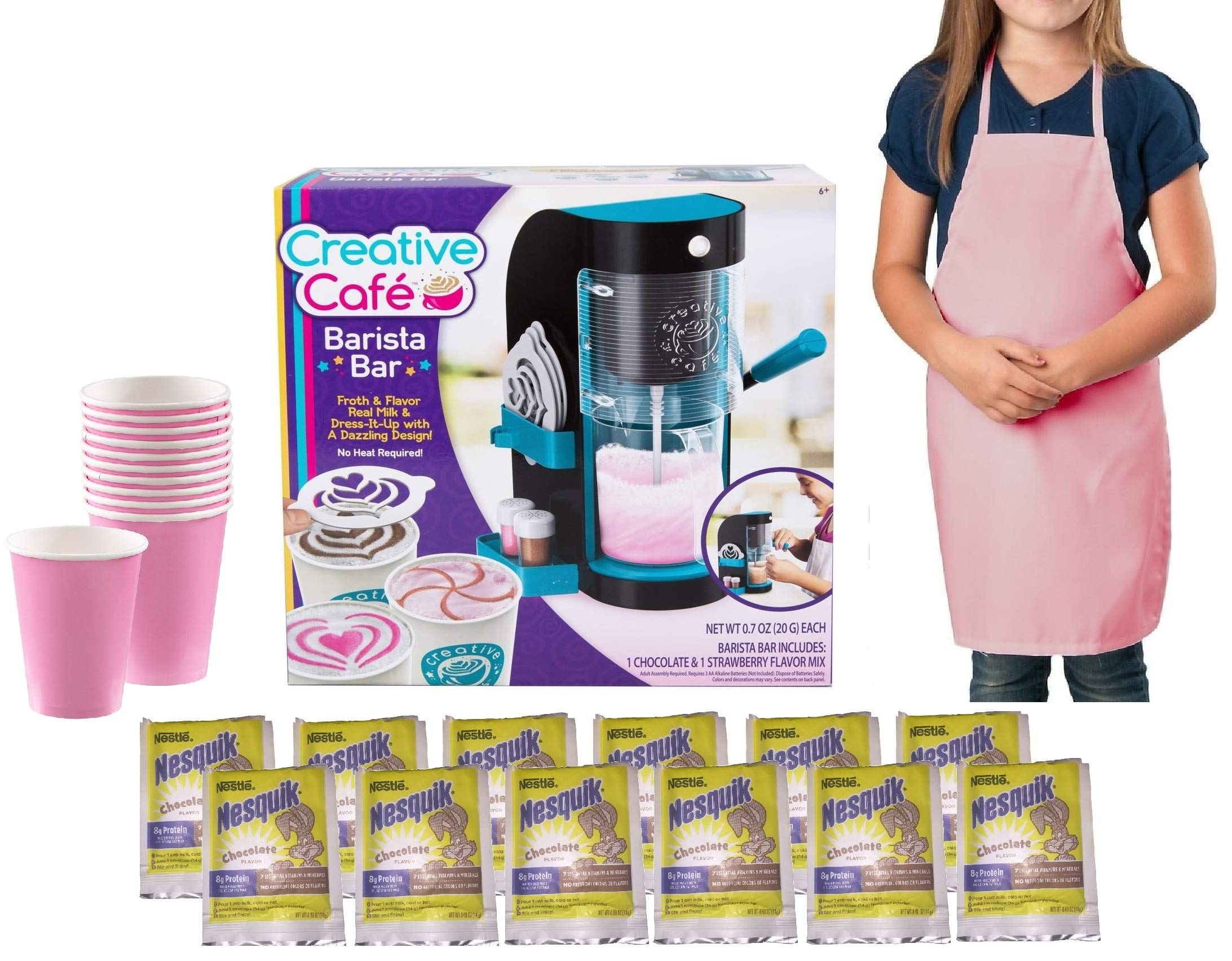 My Favorite Toys Creative Cafe Barista Bar Gift Set - Includes Barista Bar, Pink Apron, 12 Pink Cups and Chocolate Powder Refill Packets