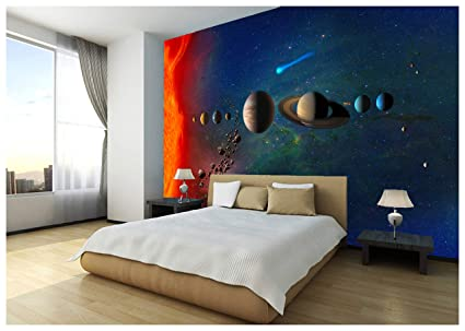Space Stars Planets Solar System Wallpaper Mural Photo Children Kids