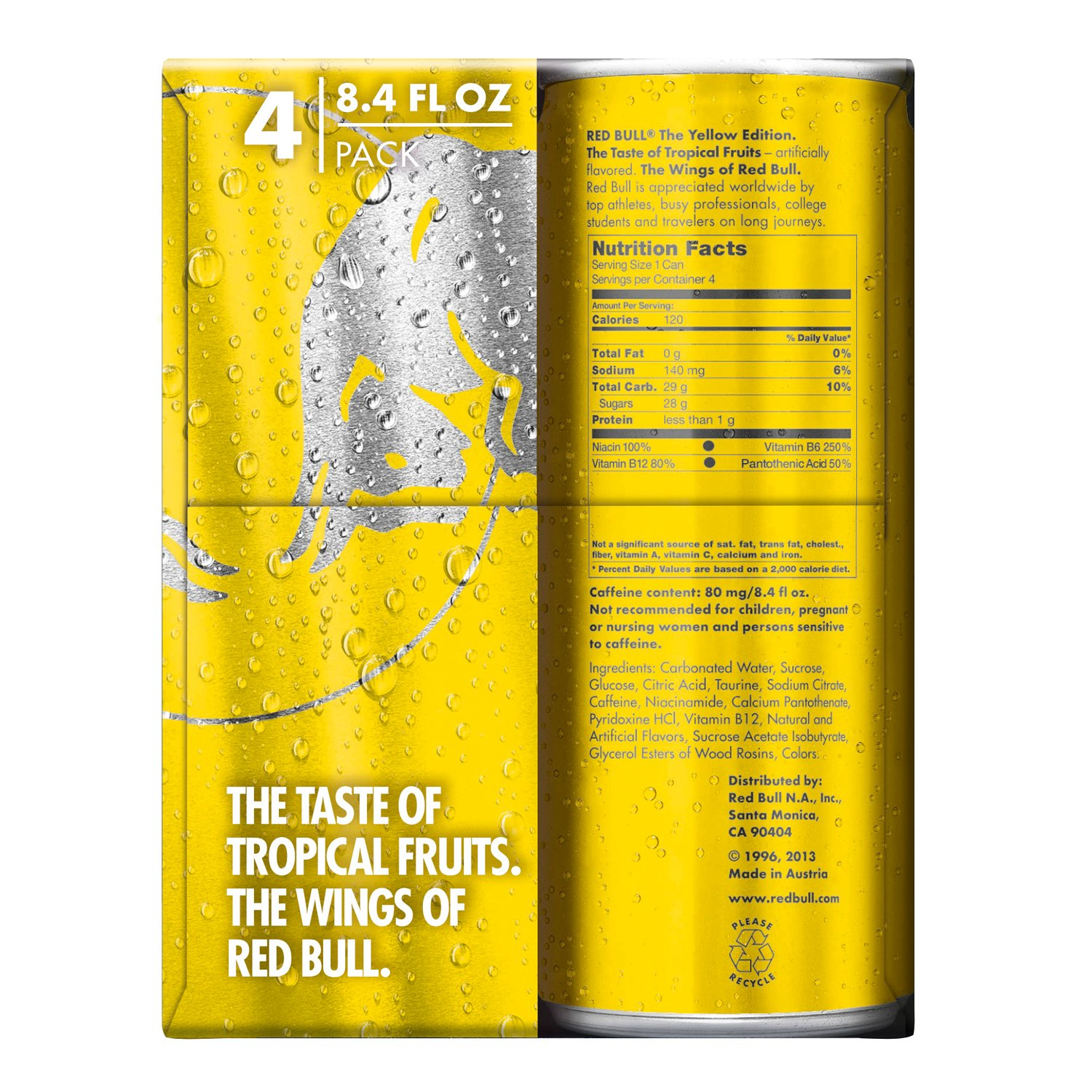 Red Bull Yellow Edition Tropical Energy Drink 84 Fl Oz Cans