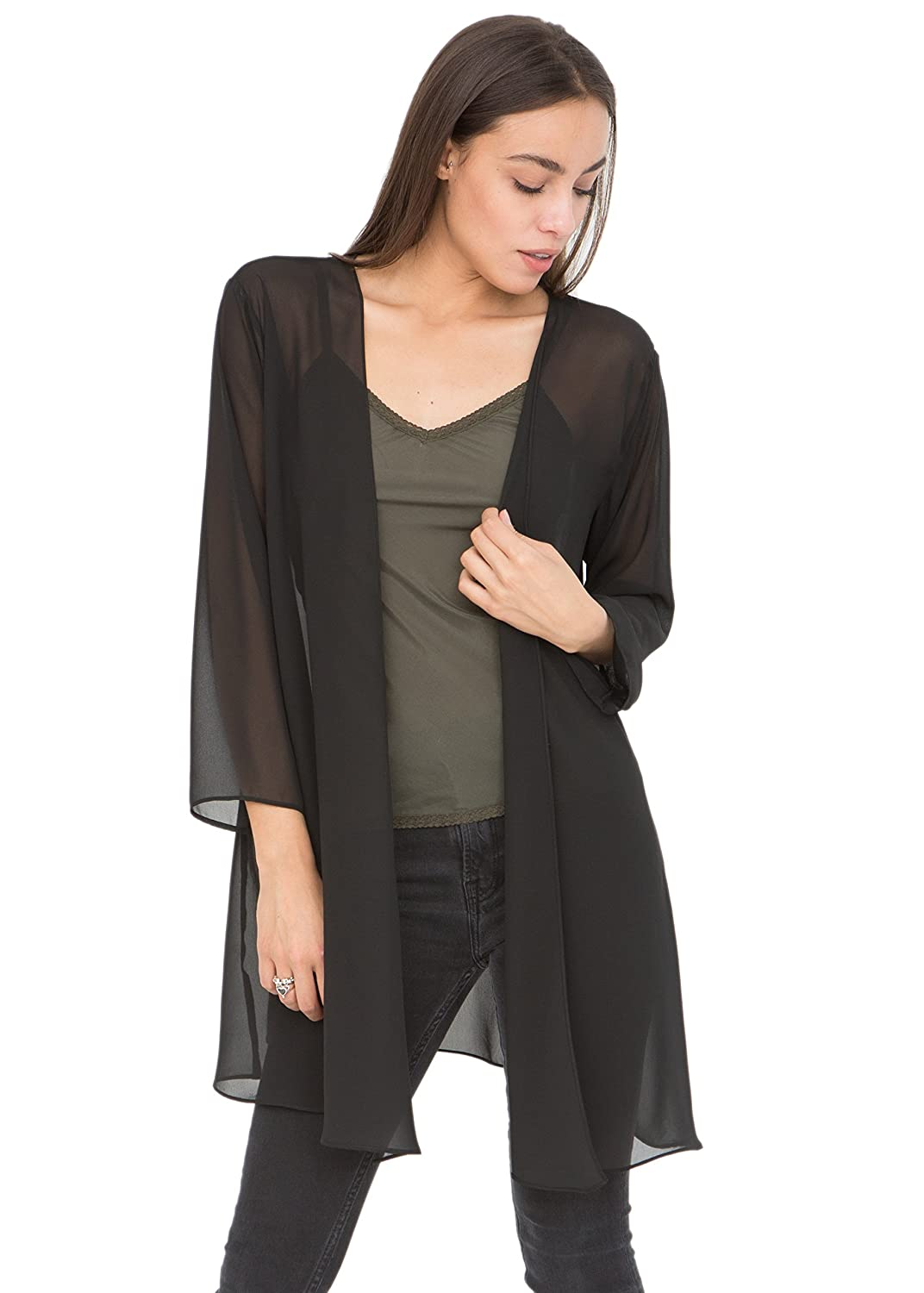 Elegant Sheer Longline Cardigan Black at Amazon Women's Clothing ...