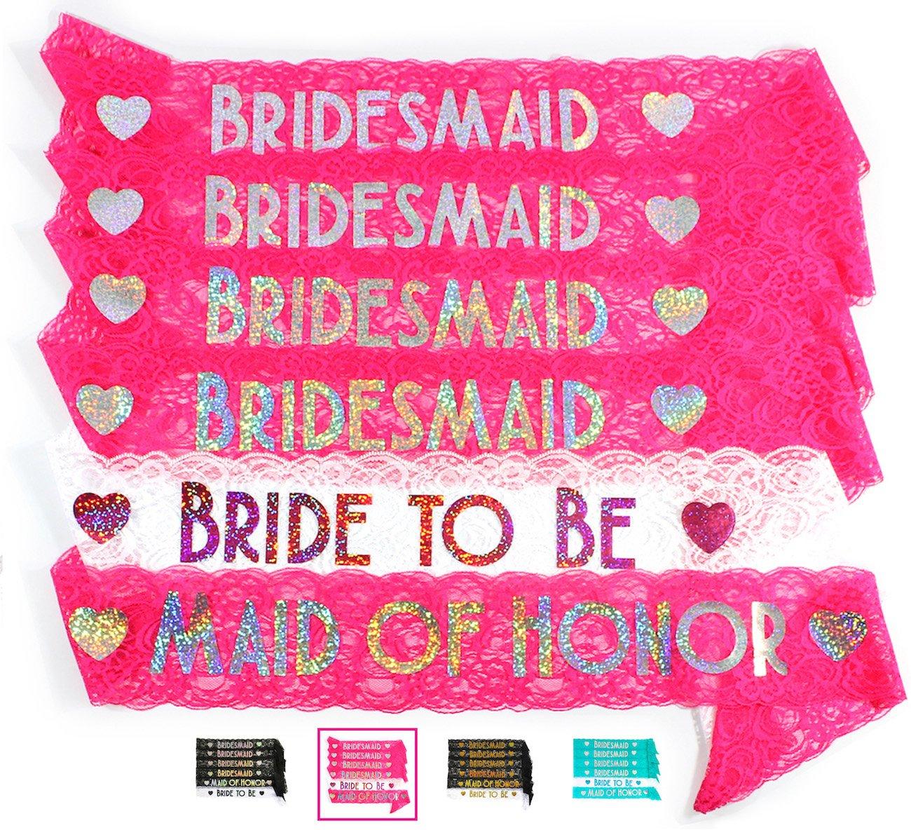 Amazon.com: Bride & Bridesmaid 6pc Lace Sash Set - Stunning Party ...