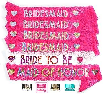 bride bridesmaid 6pc lace sash set stunning party favors for bachelorette party bridal