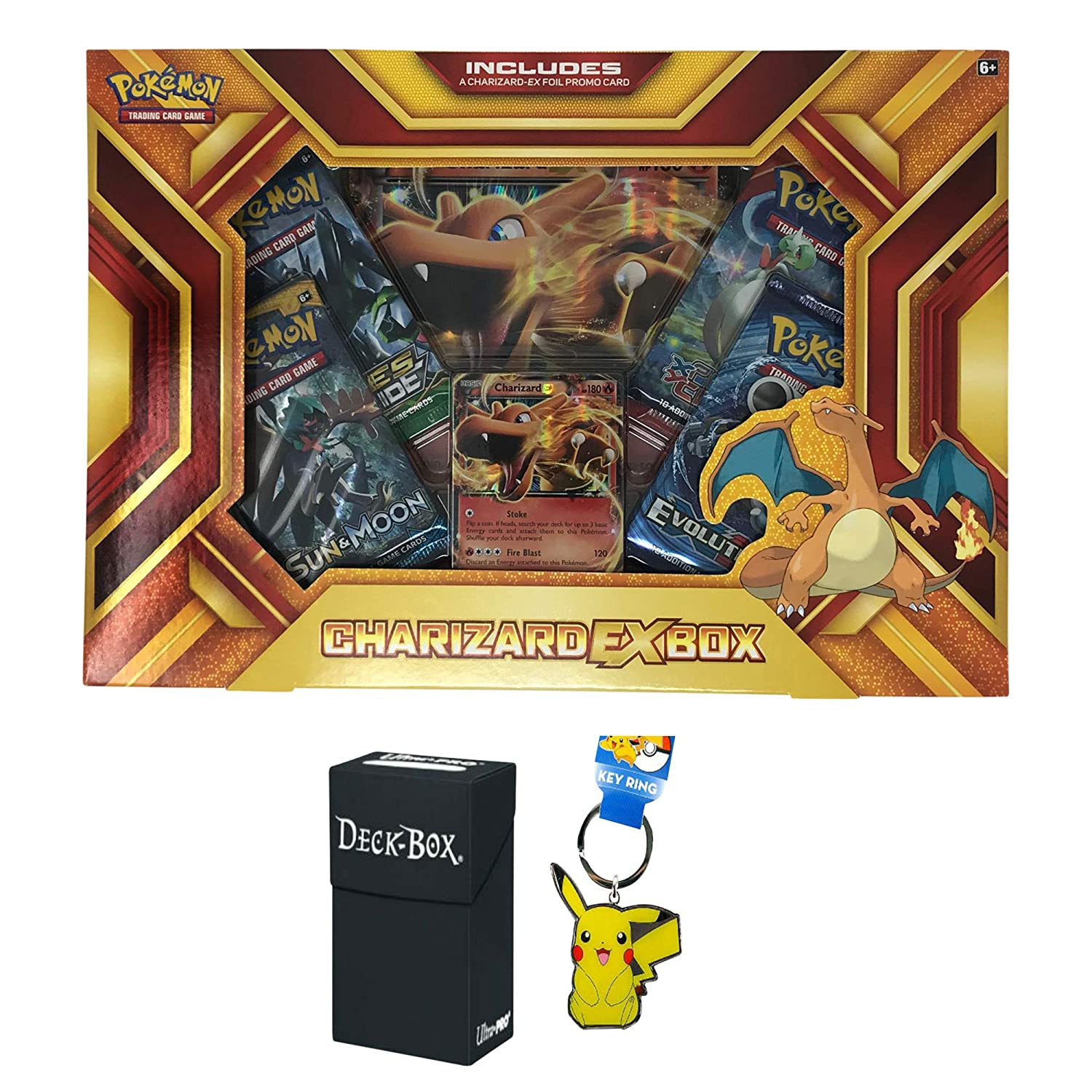 Pokemon Charizard EX Fire Blast Premium Collection Box with Charizard EX Promo Card, Oversized Jumbo Charizard EX Card, 4 Pokemon Booster Packs, Pikachu Keychain and Ultra Pro Deck Box Bundle Various