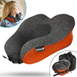 Fosmon Travel Neck Pillow, Soft and Comfortable Memory Foam Neck, Head & Chin Support Travel Pillow, Machine Washable 100% Cotton Cover for Airplane and Car - Dark Gray/Orange