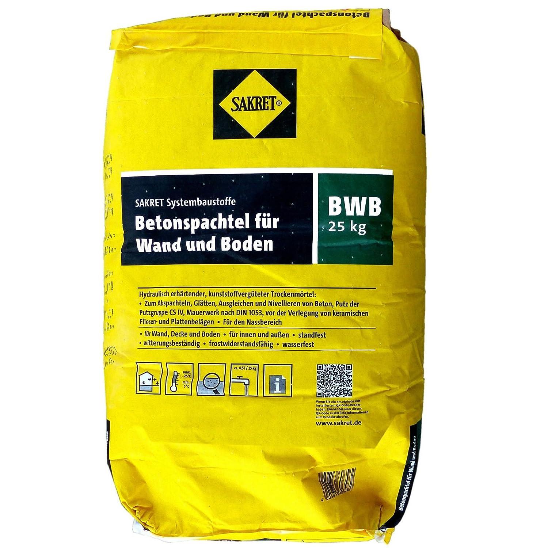 25 Kg Sack SAKRET Betonspachtel BWB Für Wand Und Boden Spachtelmasse:  Amazon.de: Baumarkt