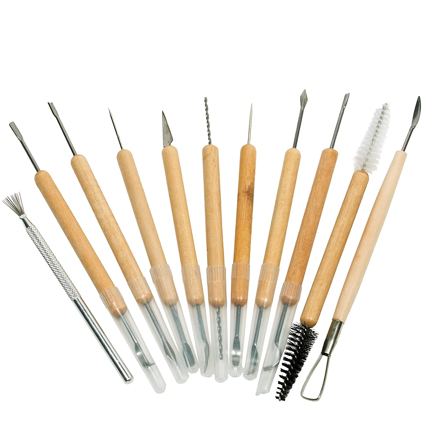 Sculpting Tools 15 Piece Deluxe Carving Clay Pottery Art Tools Set with Carrying Case