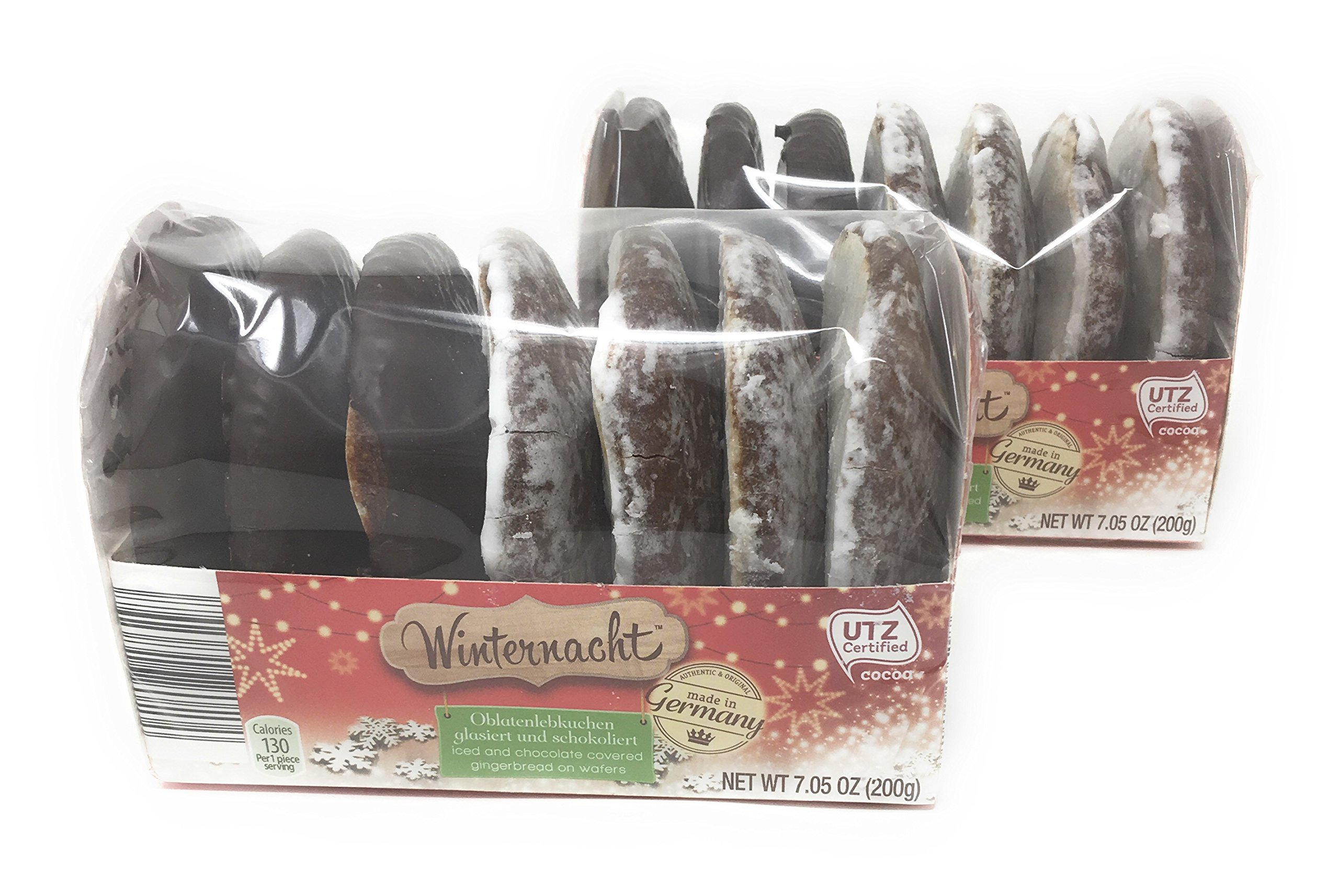 Winternacht Lebkuchen German Iced and Chocolate Covered Gingerbread Cookies on Wafers 200 grams (pack of 2)