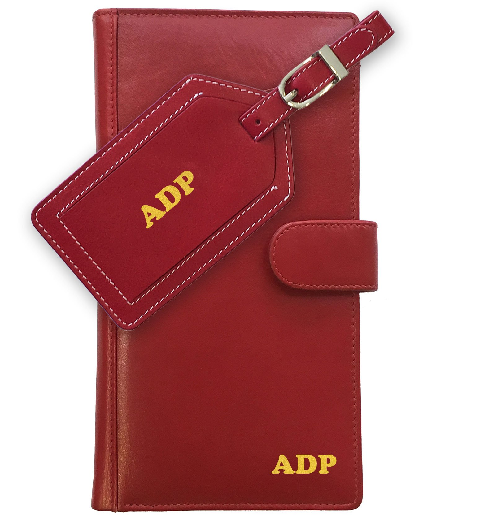 Personalized Monogrammed Red Leather RFID Travel Wallet and Luggage Tag