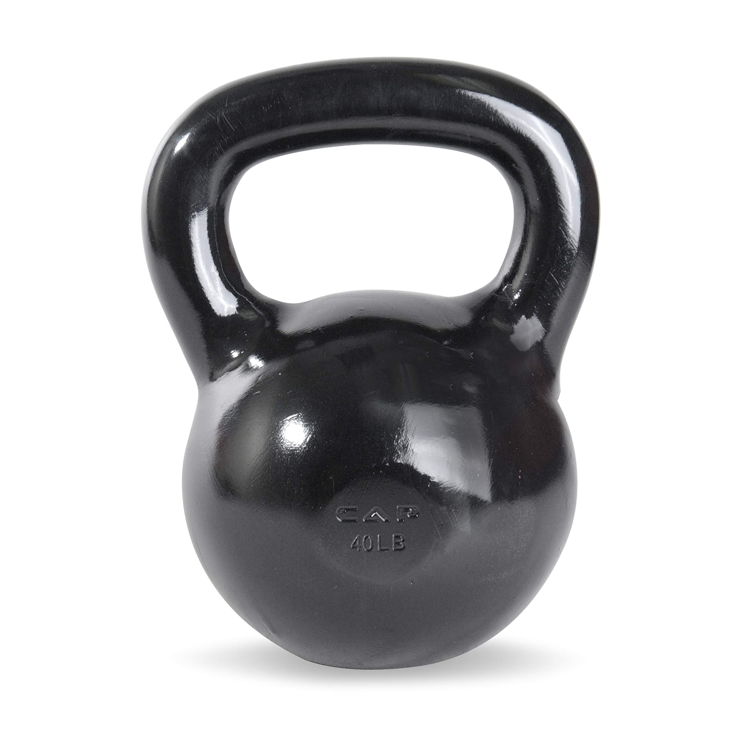 CAP Barbell SDK2-040 Enamel Coated Cast Iron Kettlebell, 40 lb, Black by CAP Barbell (Image #1)