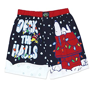 ba17c2029d07 Peanuts Snoopy Charlie Brown Christmas Holiday Mens Boxer Shorts Boxers  (Small, Navy)