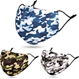 3 Pcs Unisex Face Macks Washable Reusable for Dust Printed Design with Camouflage Camo Army Two Layer Face Scarf Muffle…