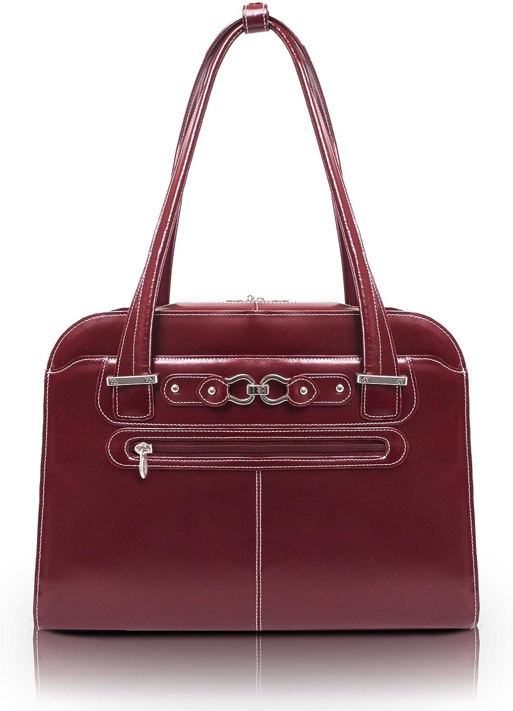 McKlein USA Oak Grove Leather Fly Through Ladies Briefcase Red 96636