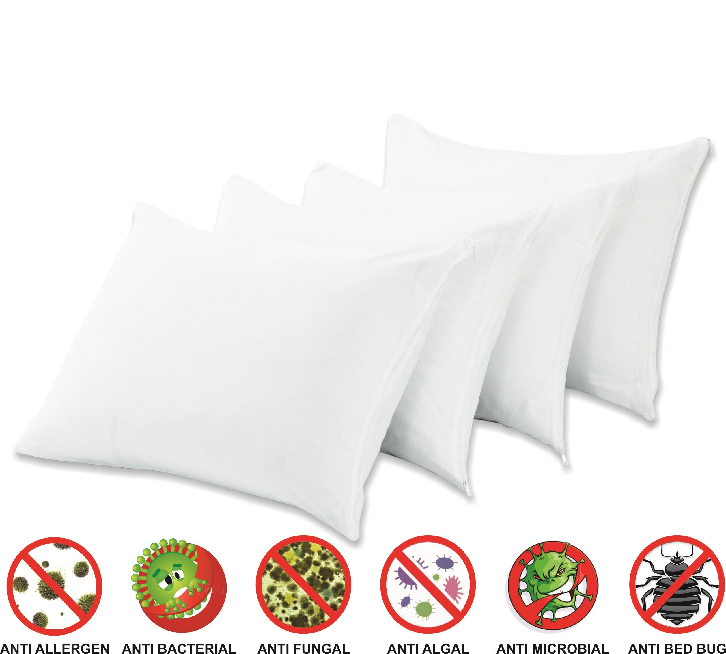 4 Pack Anti Allergy Bed Bug Dust Mite Proof Pillow Protectors Standard 20x26 Inches Premium 100% Cotton Non Noisy Zippered Proof Anti Bacterial Covers Breathable Non Crinky Luxury